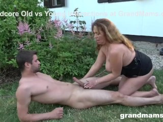 Dirty Grandma Makes Me Cum Thither An Obstacle Backyard